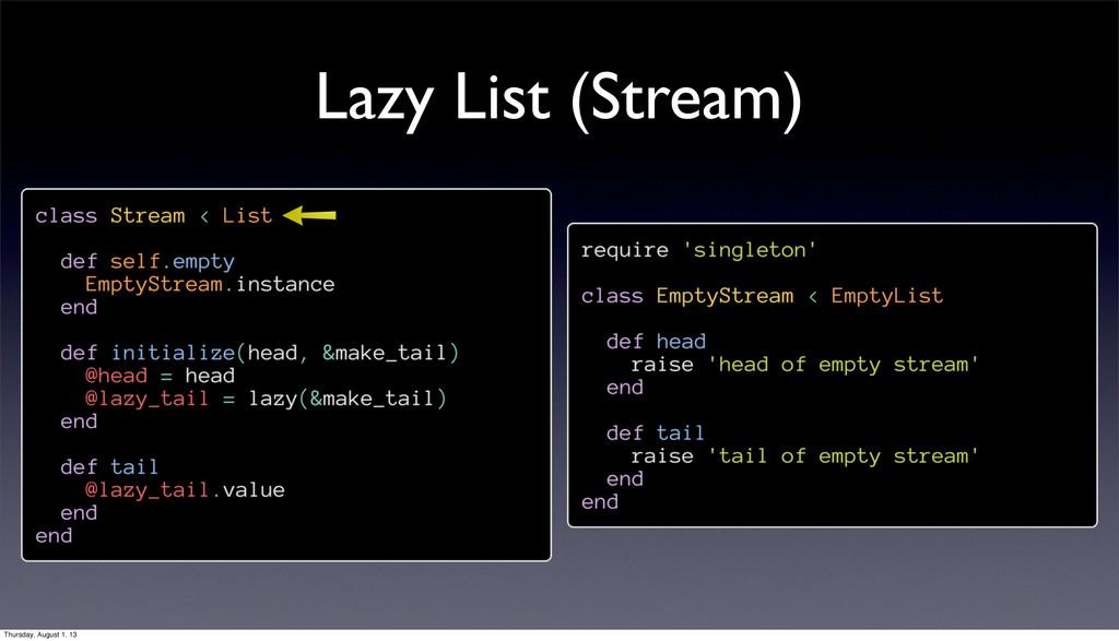 Lazy List (Stream) Thursday, August 1, 13