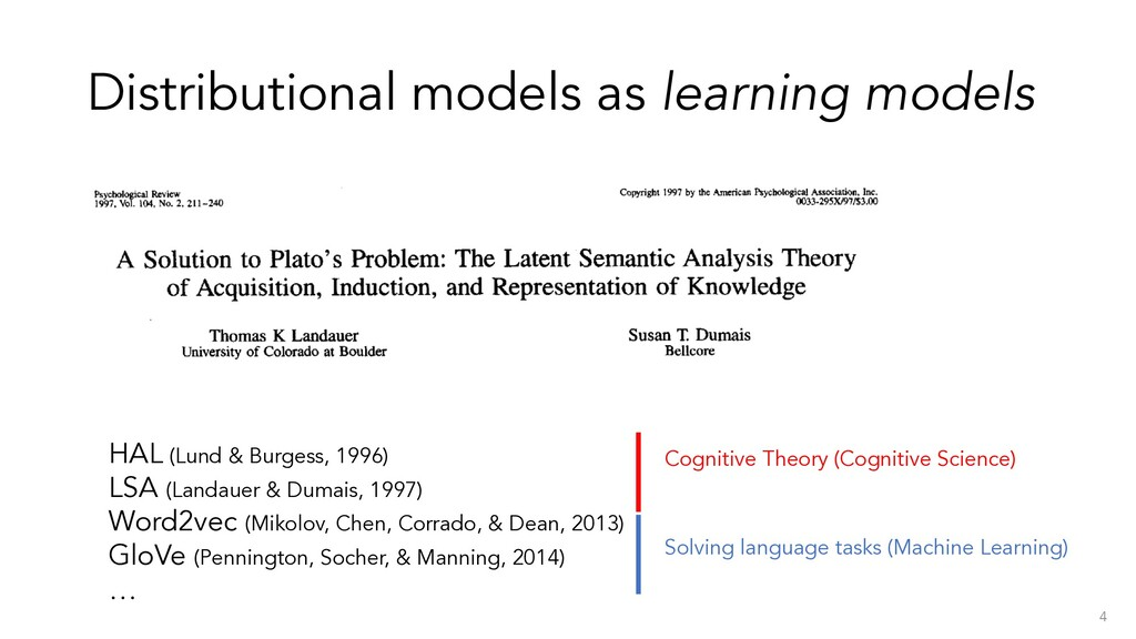 Distributional models as learning models 4 HAL ...