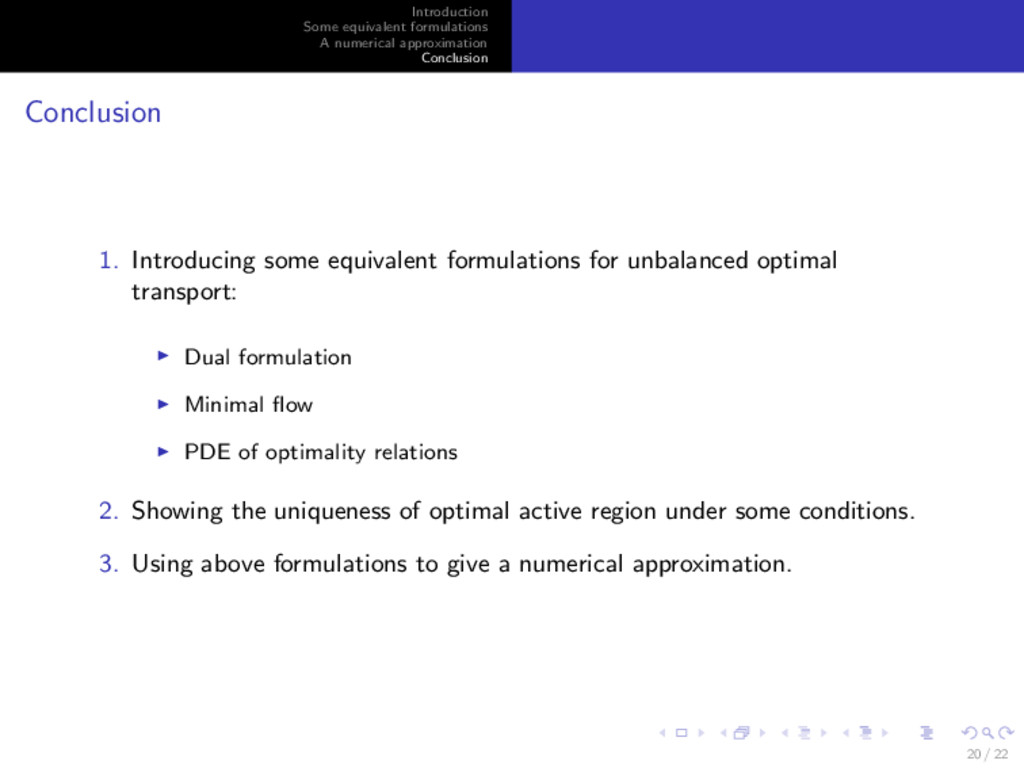 Introduction Some equivalent formulations A num...