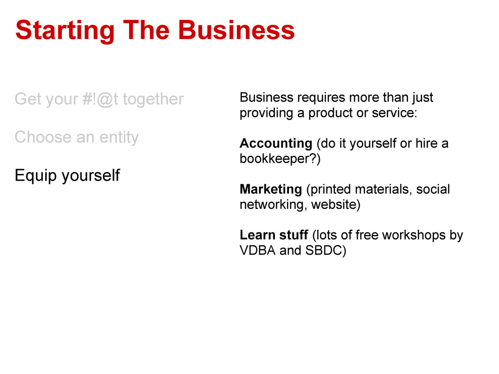 Starting The Business Get your #!@t together Ch...