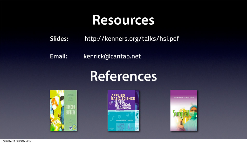 Resources Slides: http://kenners.org/talks/hsi....