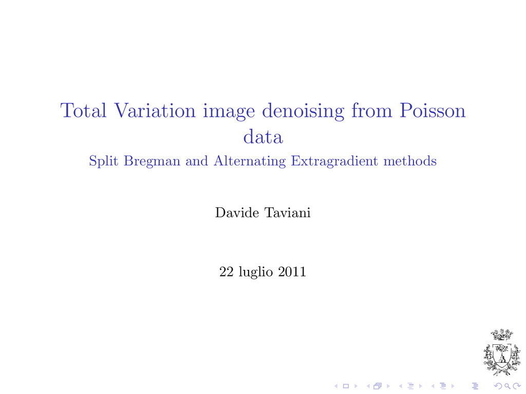 Total Variation image denoising from Poisson da...