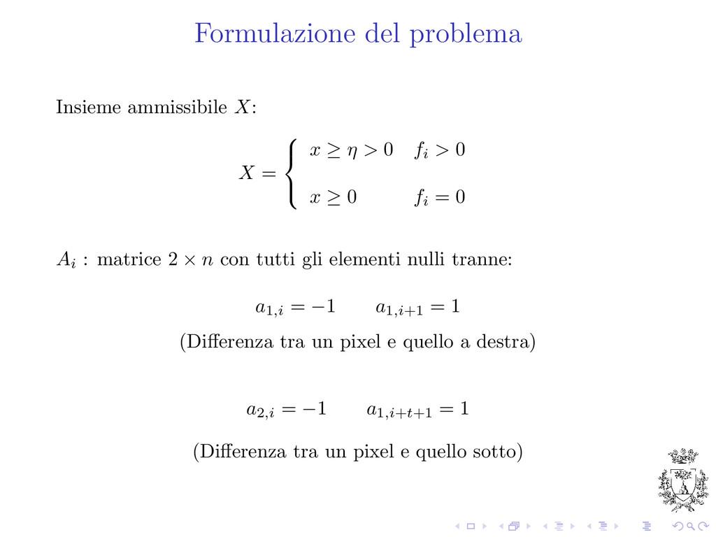 Formulazione del problema Insieme ammissibile X...