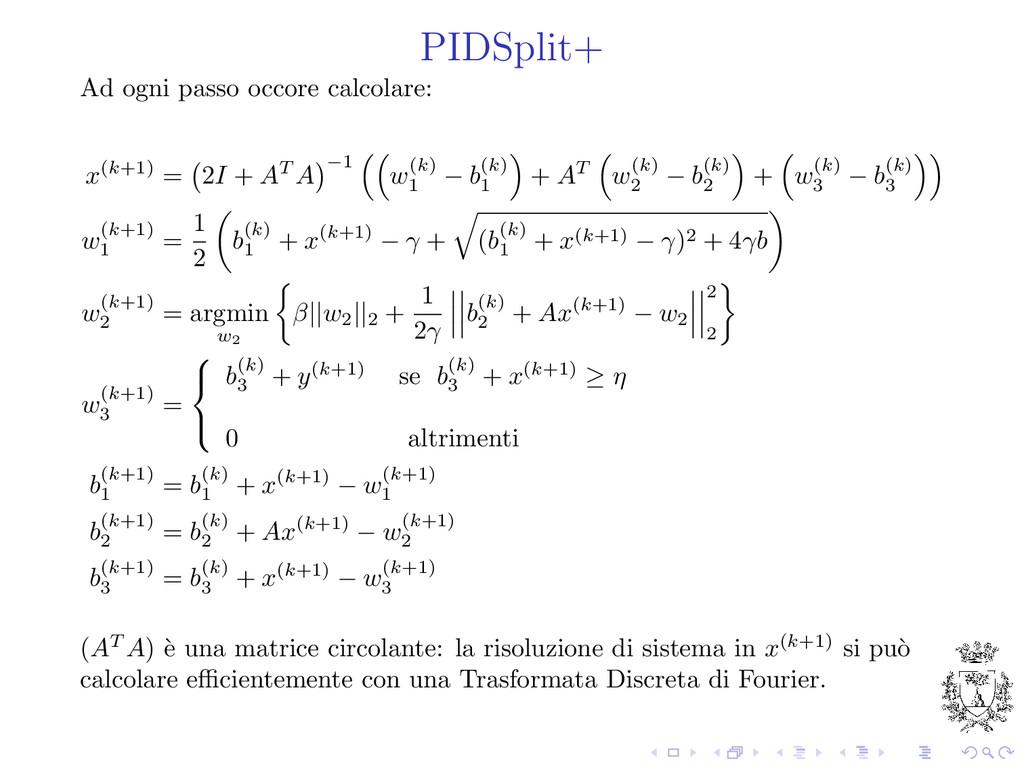 PIDSplit+ Ad ogni passo occore calcolare: x(k+1...