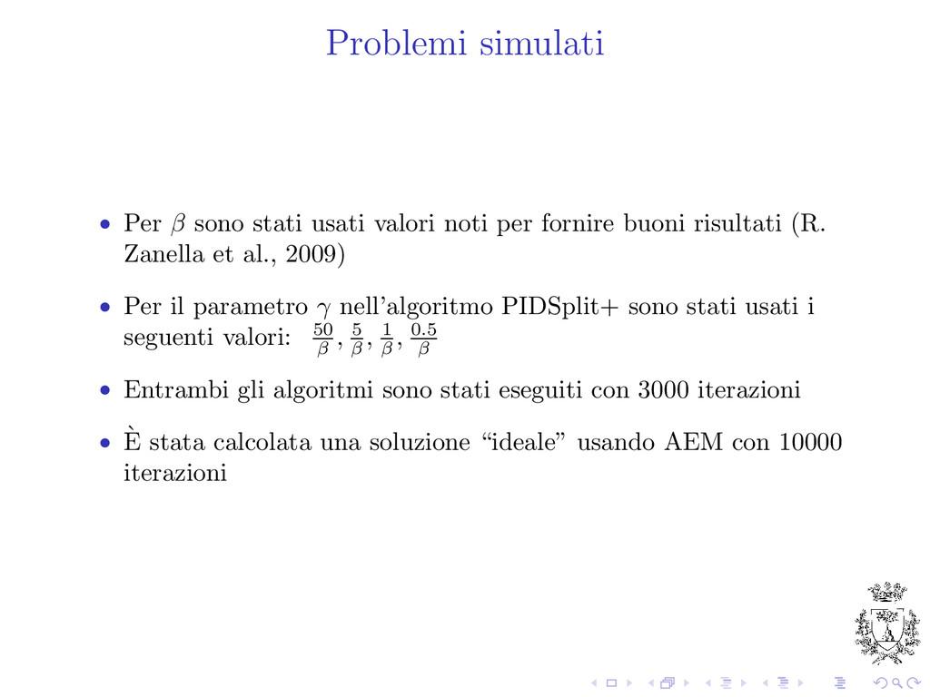 Problemi simulati • Per β sono stati usati valo...