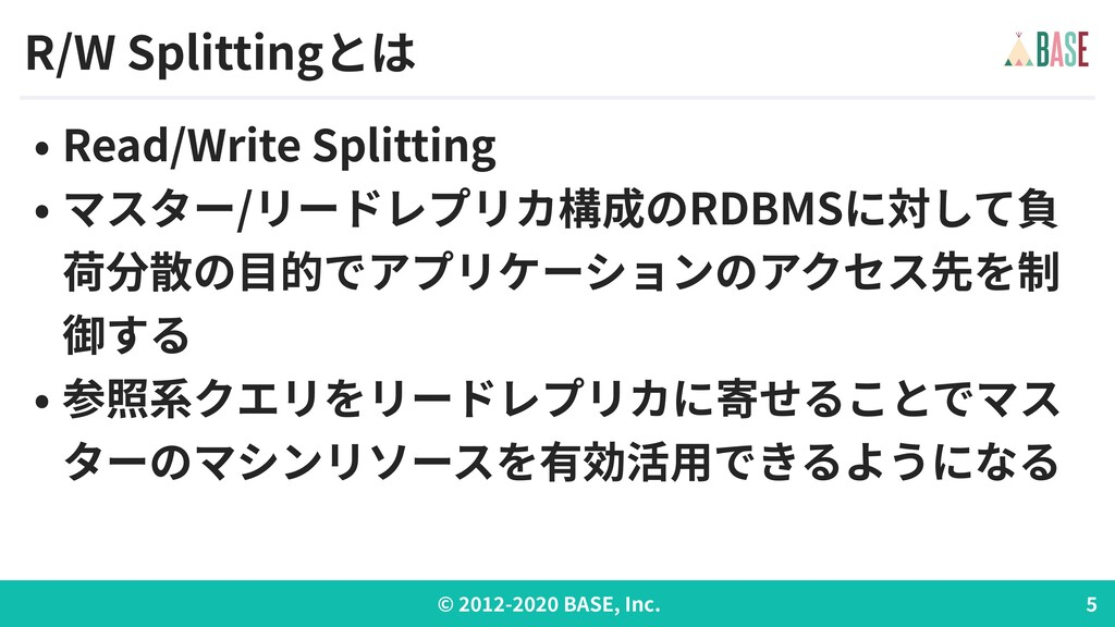 © - BASE, Inc. R/W Splittingとは • Read/Write Spl...