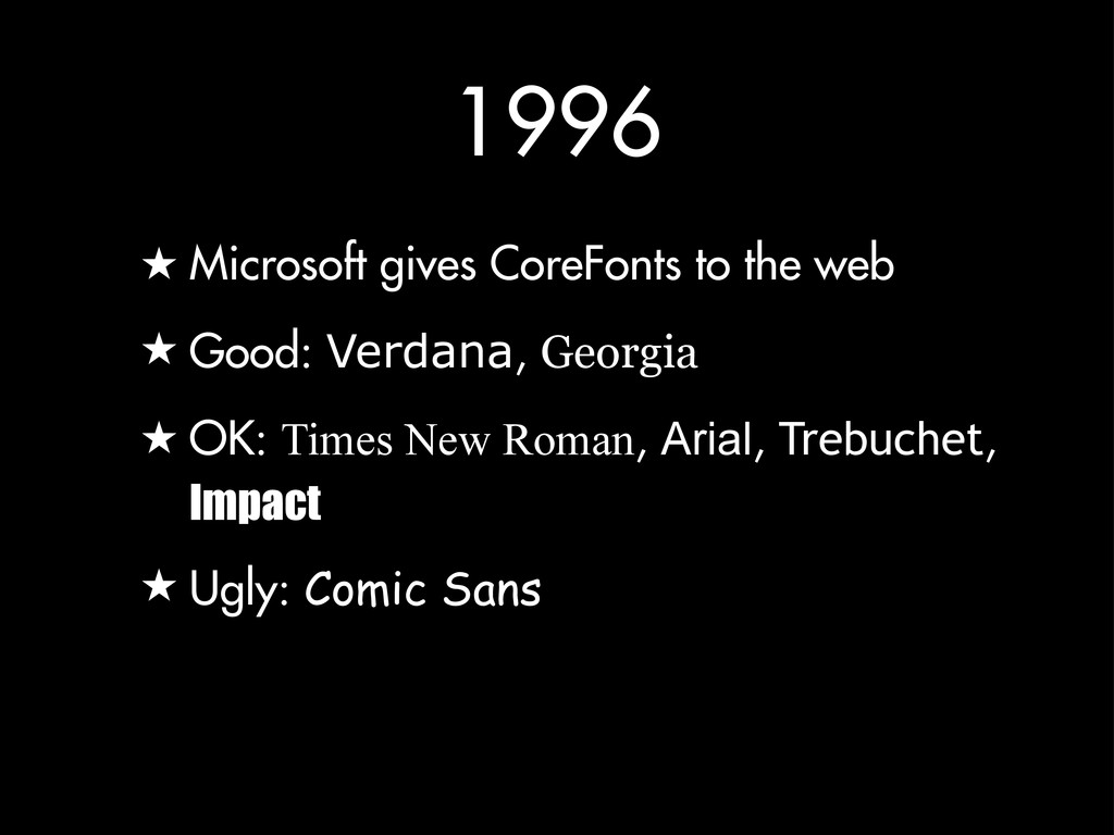 1996 ★ Microsoft gives CoreFonts to the web ★ G...