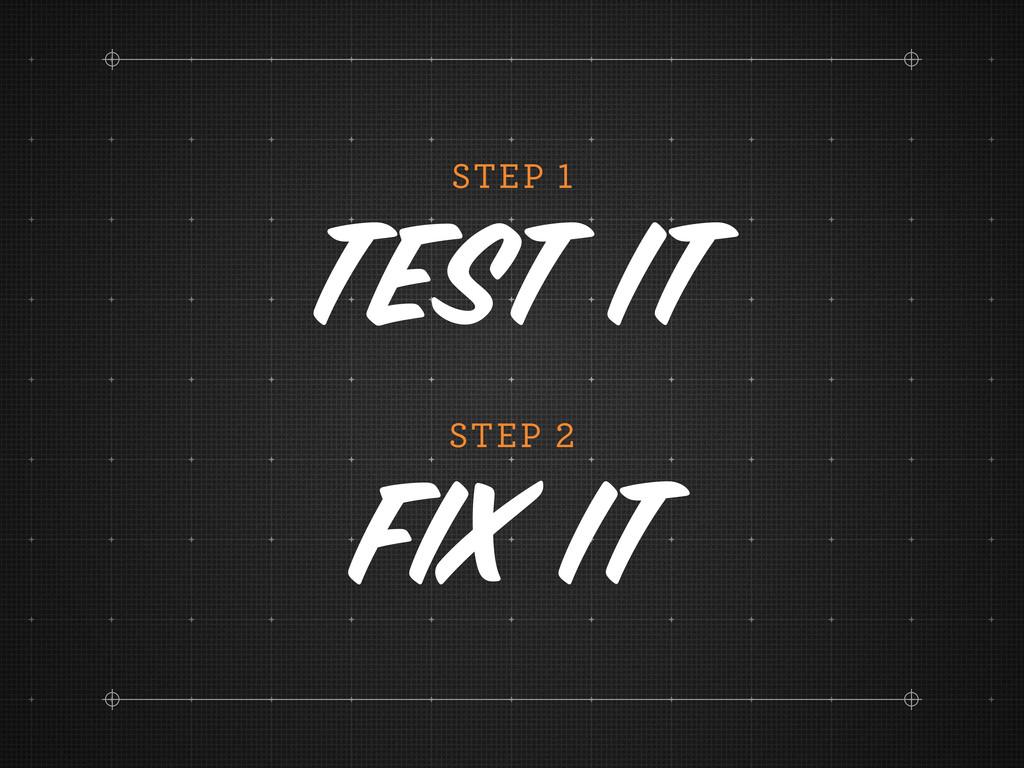 STEP Test it STEP Fix it