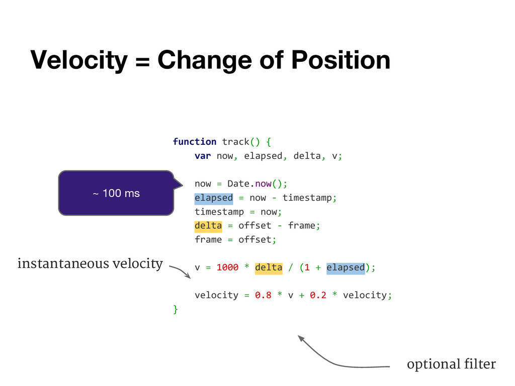 Velocity = Change of Position function track() ...