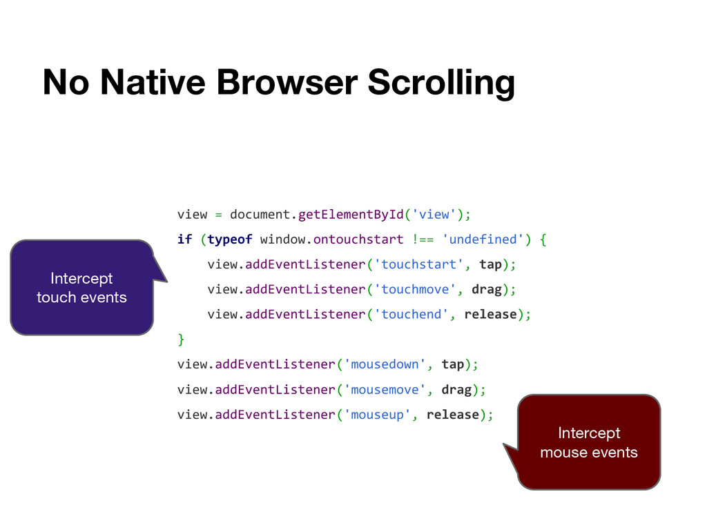 No Native Browser Scrolling view = document.get...