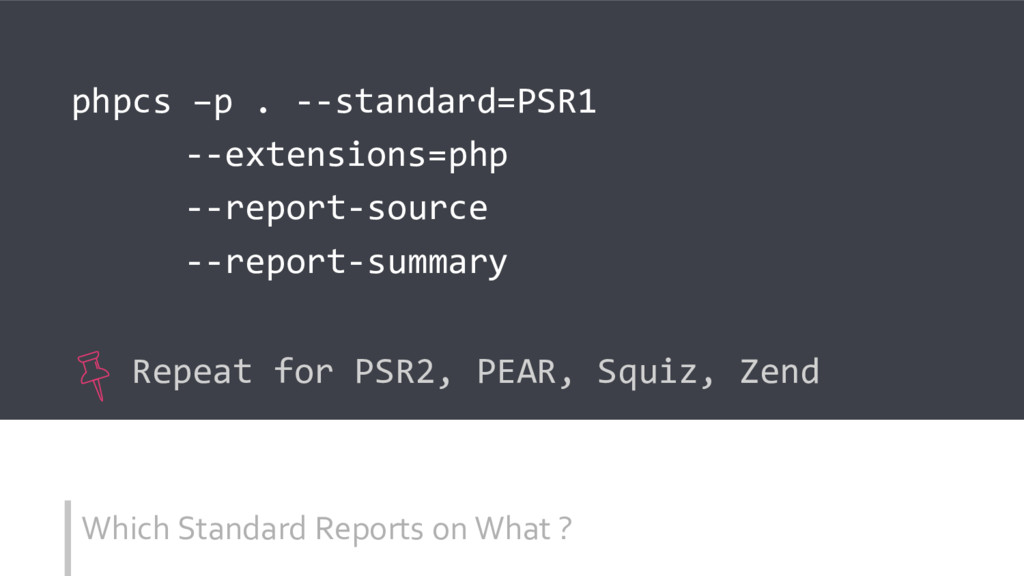 Which Standard Reports on What ? phpcs –p . --s...