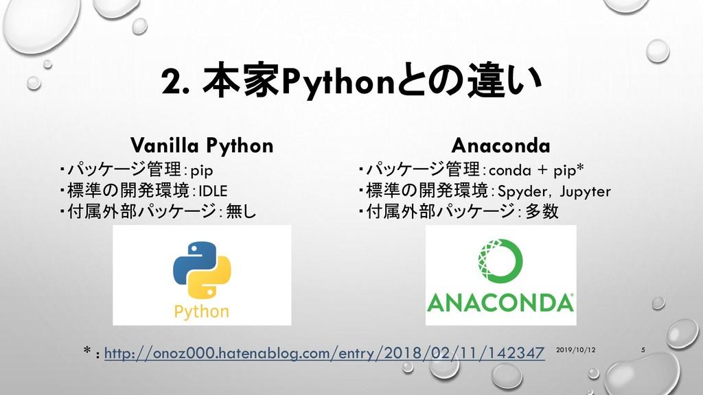 2. 本家Pythonとの違い 2019/10/12 5 Vanilla Python ・パッ...