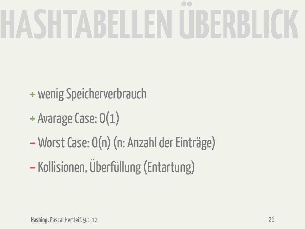 Hashing. Pascal Hertleif. 9.1.12 HASHTABELLEN Ü...