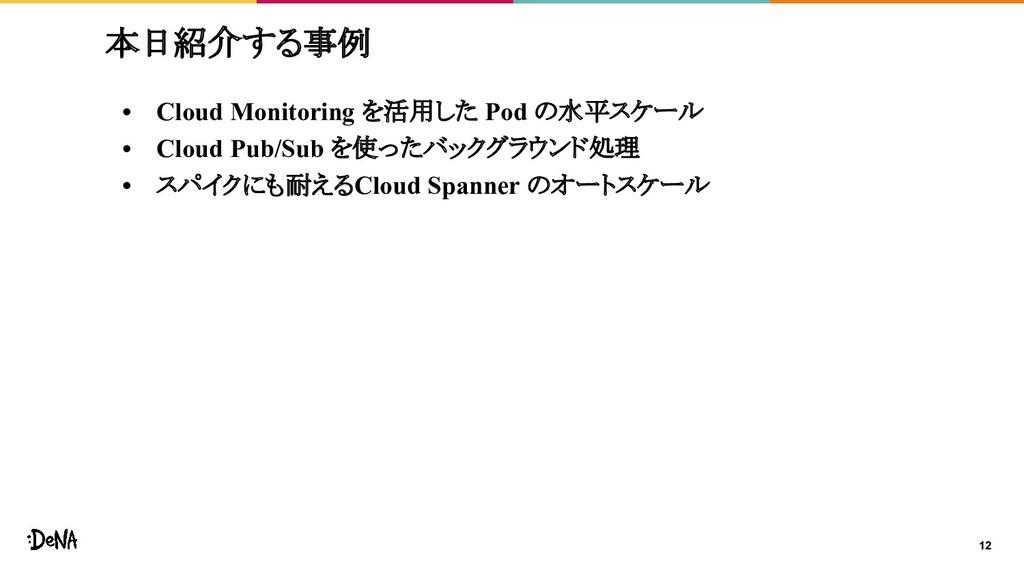 12 本日紹介する事例 • Cloud Monitoring を活用した Pod の水平スケー...
