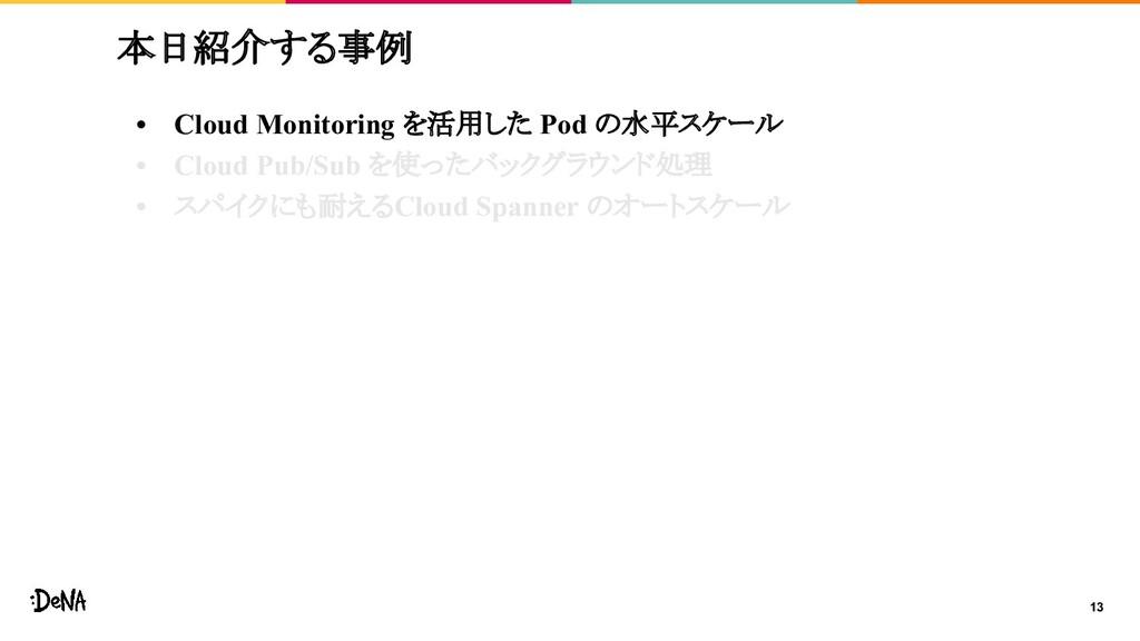 13 本日紹介する事例 • Cloud Monitoring を活用した Pod の水平スケー...