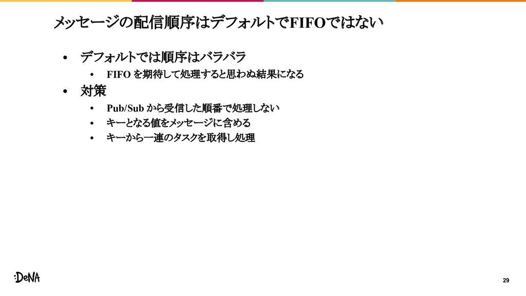 メッセージの配信順序はデフォルトでFIFOではない • デフォルトでは順序はバラバラ • FI...