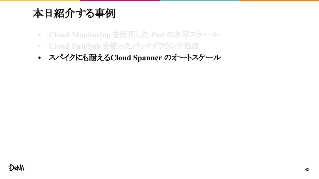43 本日紹介する事例 • Cloud Monitoring を活用した Pod の水平スケー...