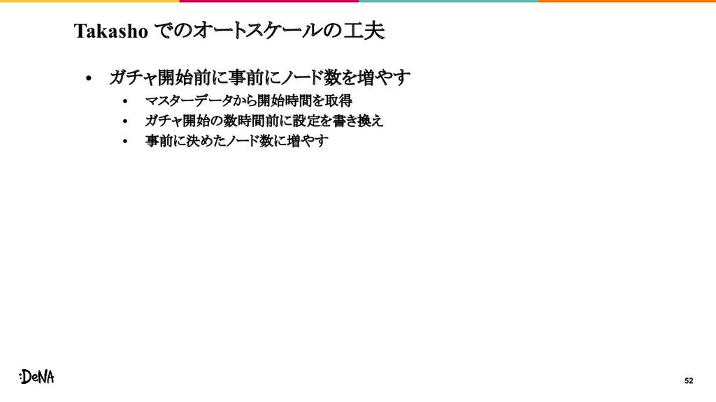 Takasho でのオートスケールの工夫 • ガチャ開始前に事前にノード数を増やす • マスタ...