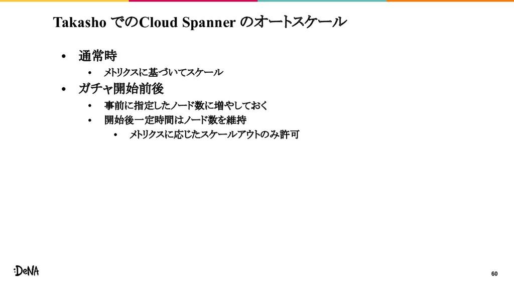 Takasho でのCloud Spanner のオートスケール • 通常時 • メトリクスに...