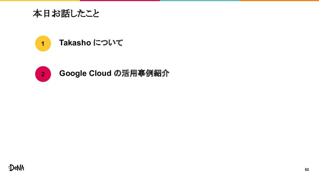 62 本日お話したこと Takasho について Google Cloud の活用事例紹介 1...