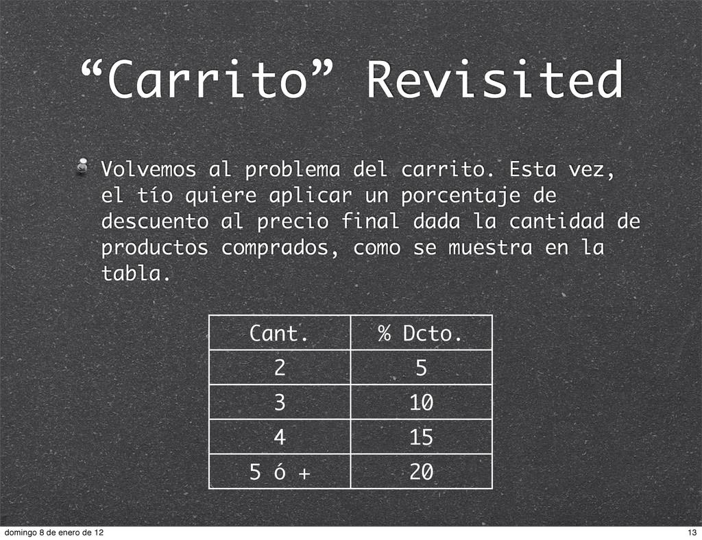 """""""Carrito"""" Revisited Volvemos al problema del ca..."""