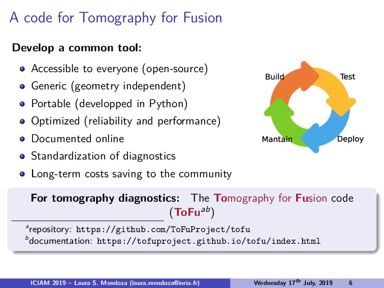 A code for Tomography for Fusion Develop a comm...