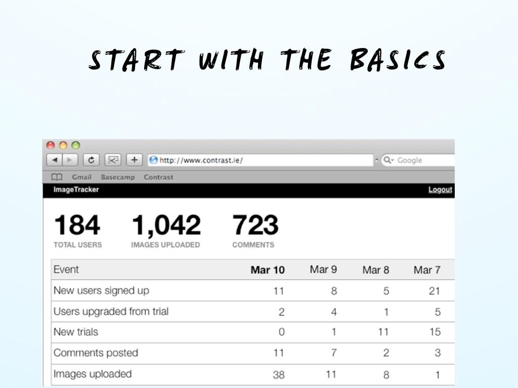 START WITH THE BASICS