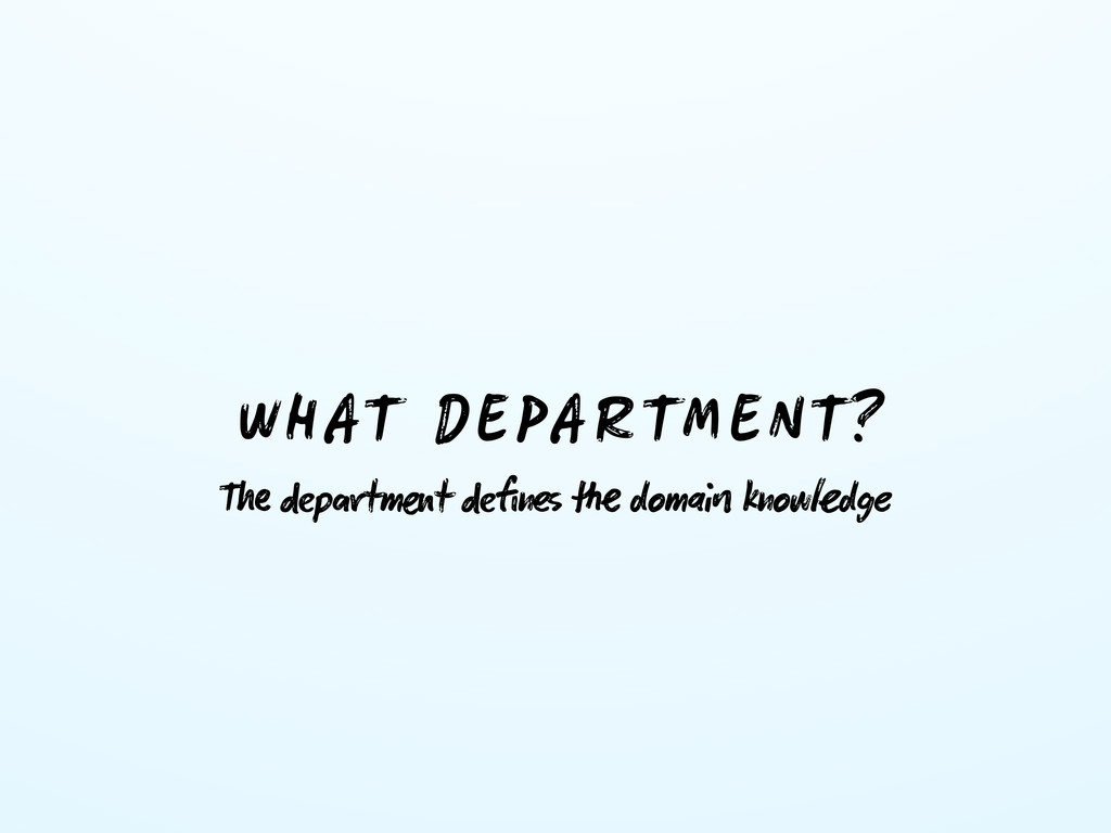 WHAT DEPARTMENT? T ptmt fin  doma knowd...