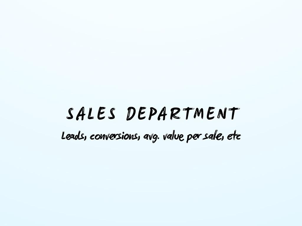 SALES DEPARTMENT Lds, cvsns, avg. val p s...