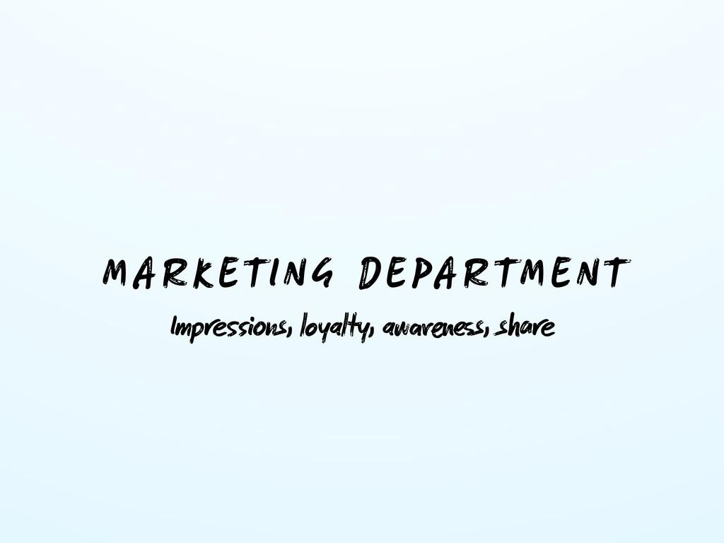 MARKETING DEPARTMENT Impns, loyalty, aws,...