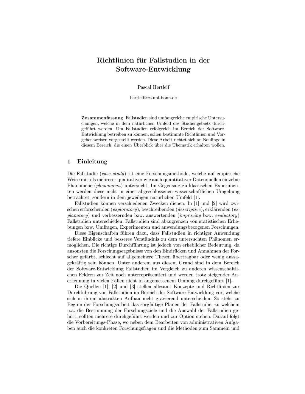 Richtlinien für Fallstudien in der Software-Ent...