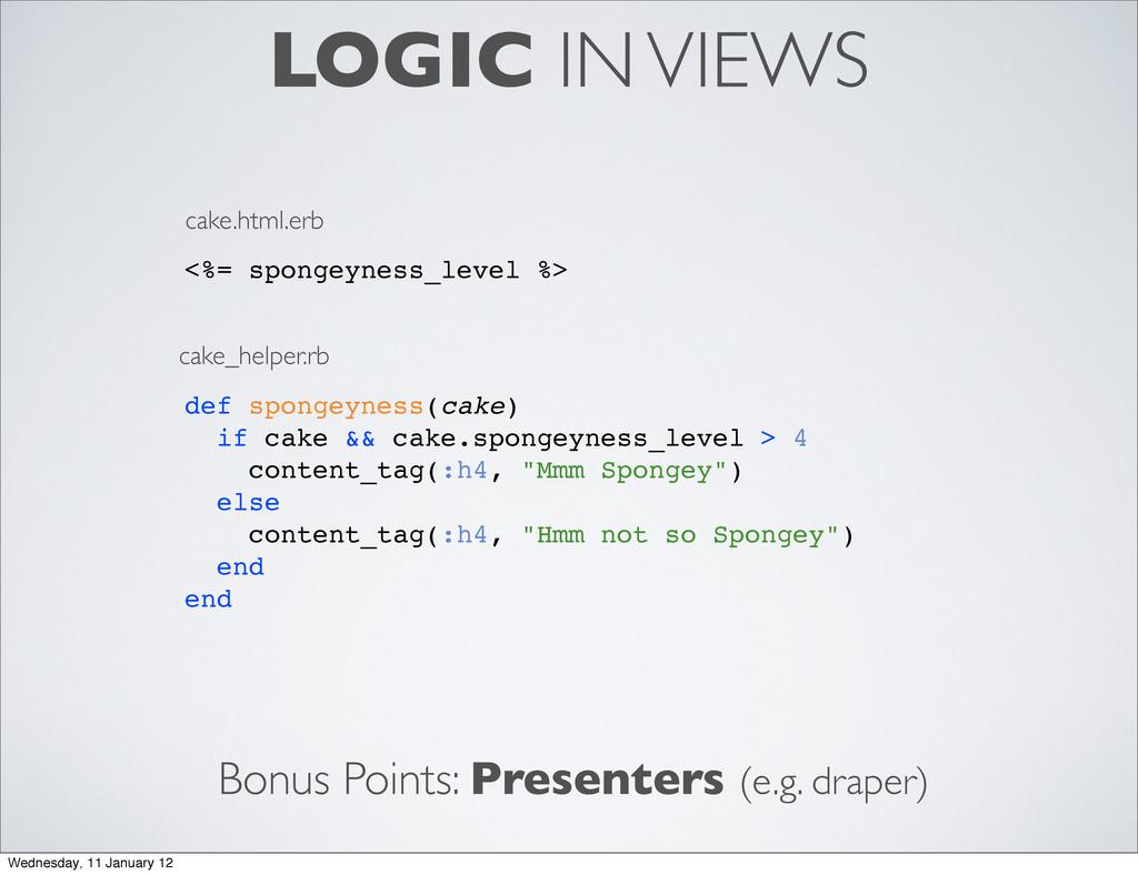 LOGIC IN VIEWS <%= spongeyness_level %> def spo...
