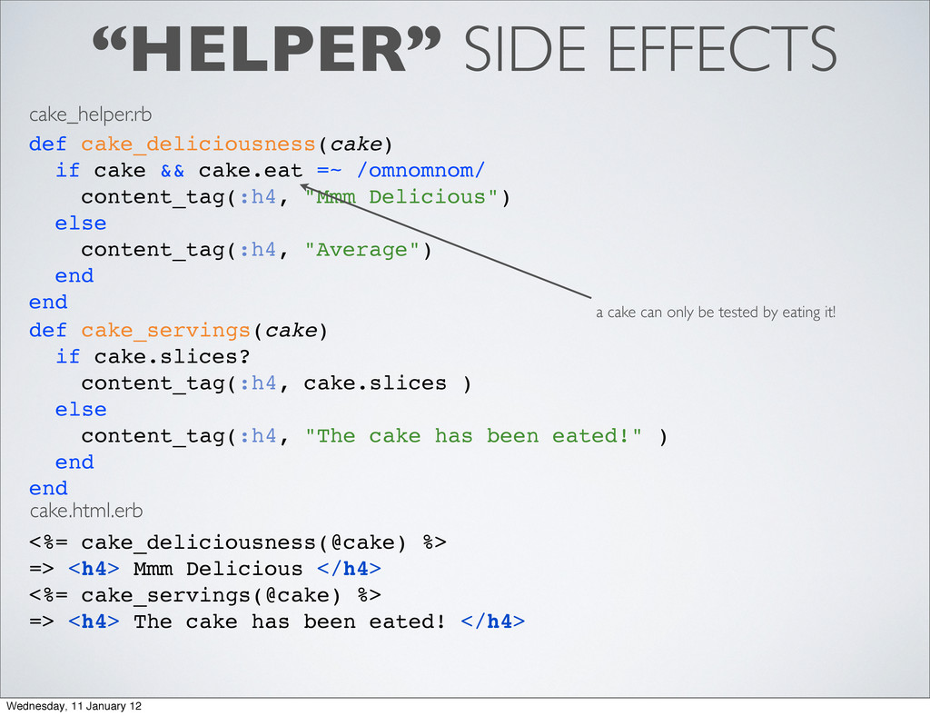 """""""HELPER"""" SIDE EFFECTS def cake_deliciousness(ca..."""