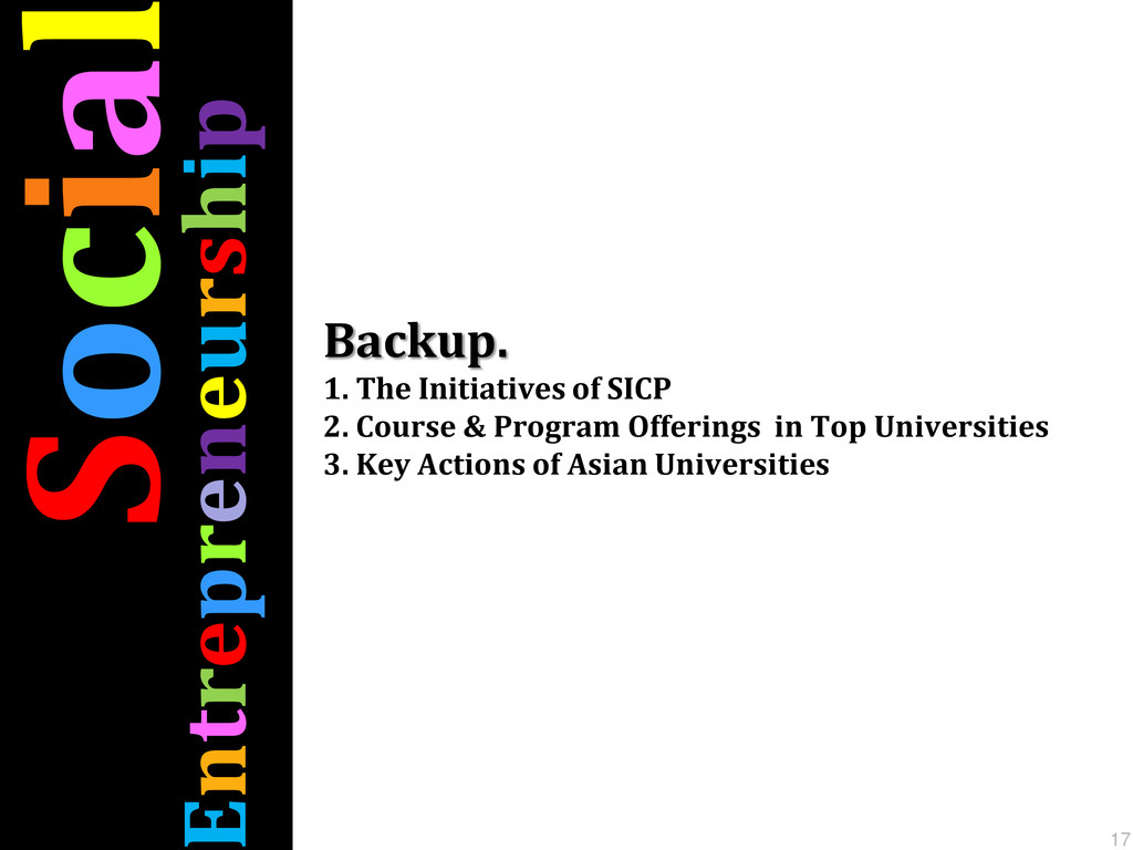 Socia ntrepreneurship 17 Backup. 1. The Initiat...