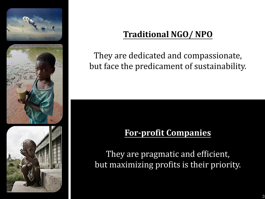 Traditional NGO/ NPO They are dedicated and com...