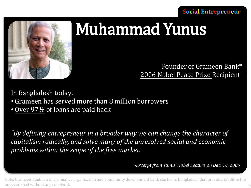 Social Entrepreneur Muhammad Yunus Founder of G...