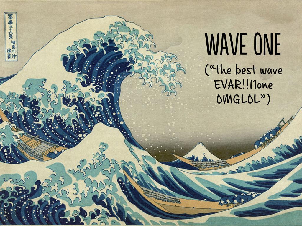 "We o (""the best wave EVAR!1one OMGLOL"")"