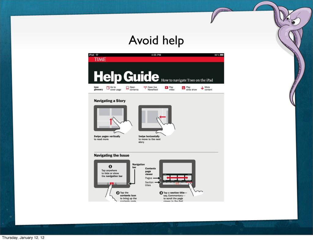 Avoid help Thursday, January 12, 12