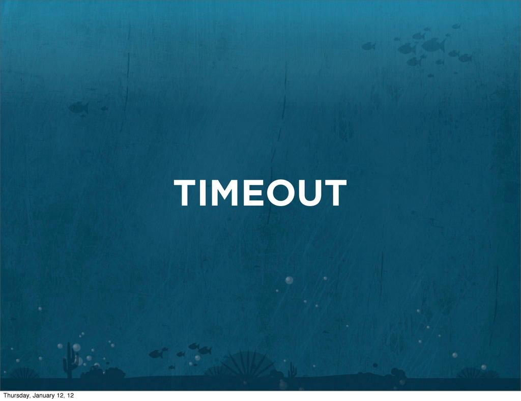 TIMEOUT Thursday, January 12, 12