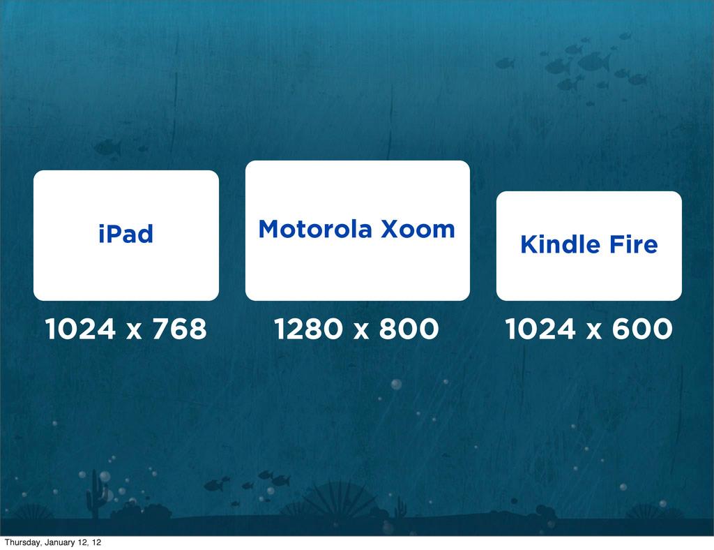 1024 x 768 1280 x 800 1024 x 600 iPad Motorola ...
