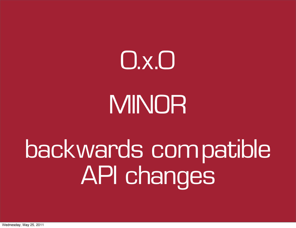 0.x.0 backwards compatible API changes MINOR We...