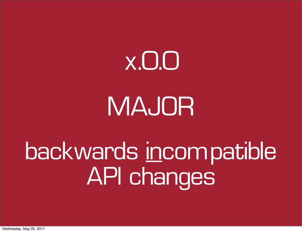 x.0.0 backwards incompatible API changes MAJOR ...