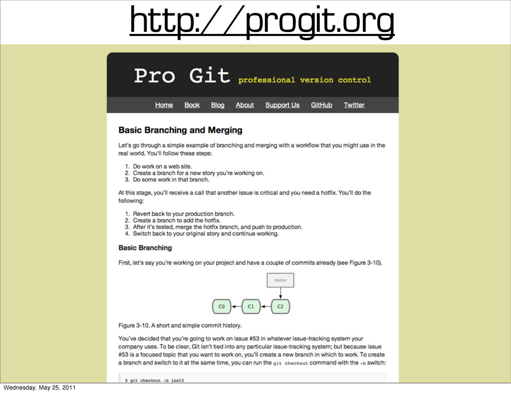 http://progit.org Wednesday, May 25, 2011