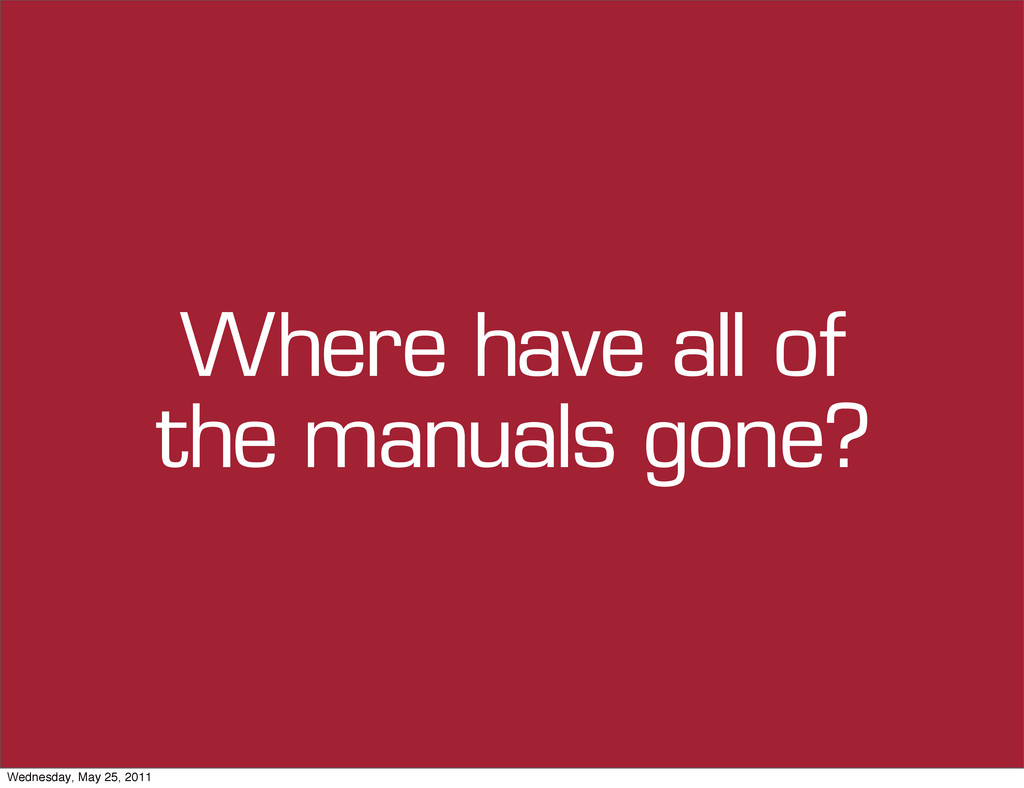 Where have all of the manuals gone? Wednesday, ...