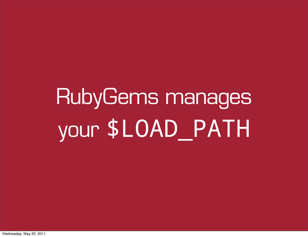 RubyGems manages your $LOAD_PATH Wednesday, May...