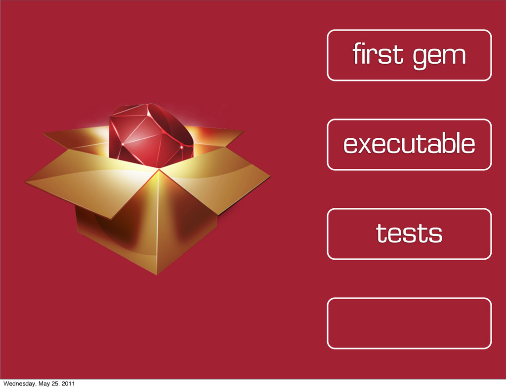 tests executable first gem Wednesday, May 25, 2...