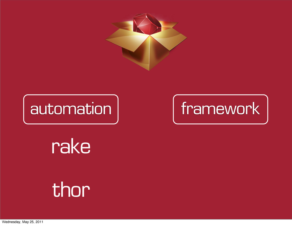 framework automation rake thor Wednesday, May 2...