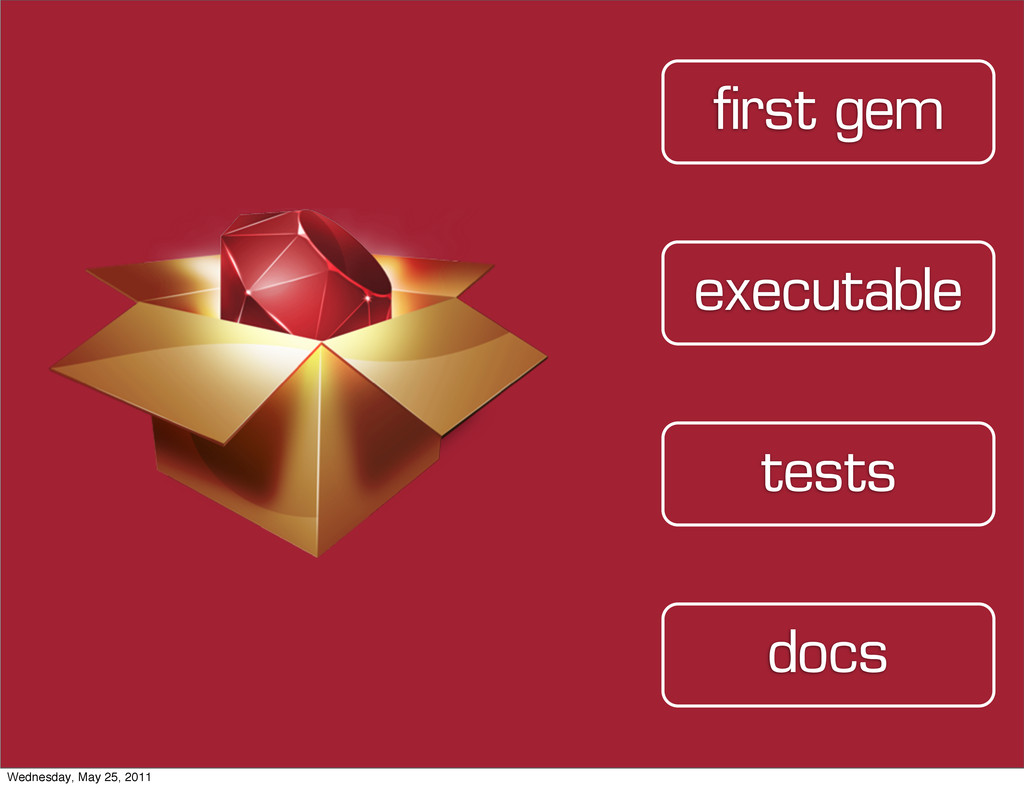 tests executable first gem docs Wednesday, May ...