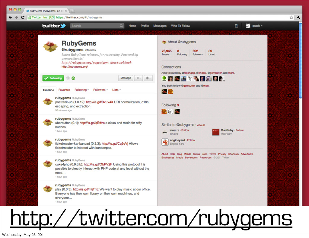 http://twitter.com/rubygems Wednesday, May 25, ...