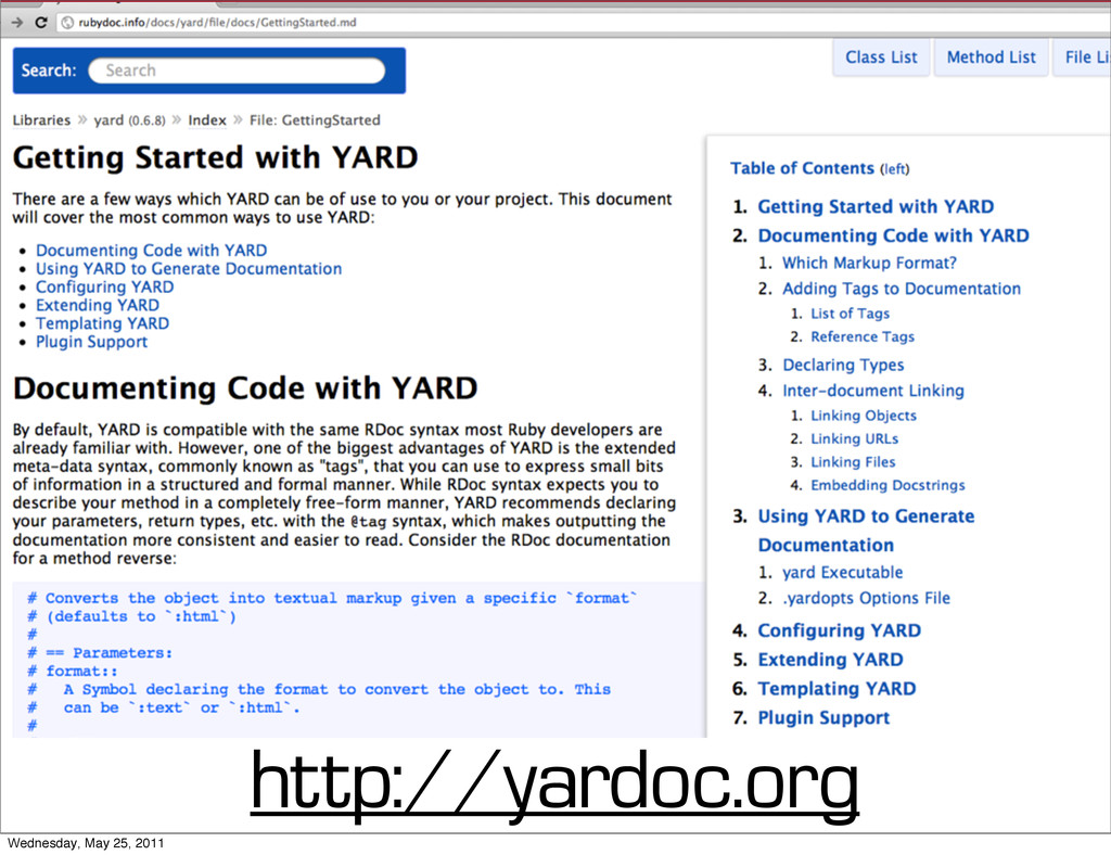 http://yardoc.org Wednesday, May 25, 2011